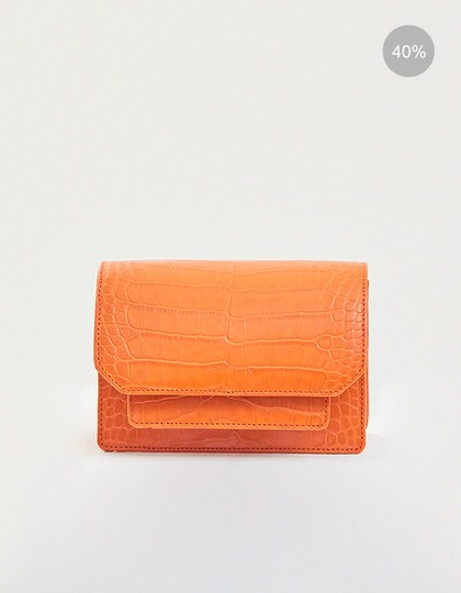 19SS ALLIGATOR-EMBOSSED CONVERTIBLE MINI LEATHER BAG - ORANGE