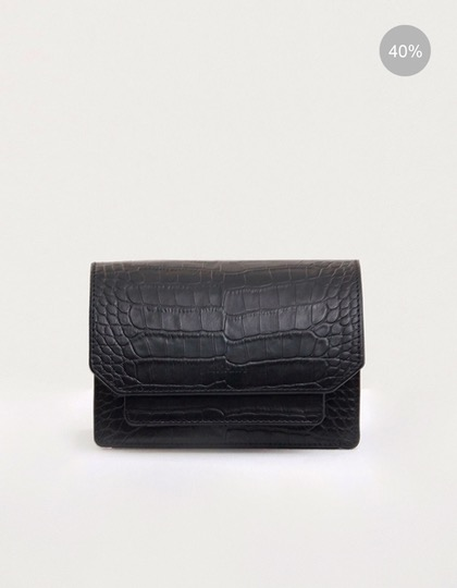 19SS ALLIGATOR-EMBOSSED CONVERTIBLE MINI LEATHER BAG - BLACK
